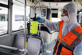 Toplu taşıma ve hallerde Koronavirüs önlemi arttırıldı