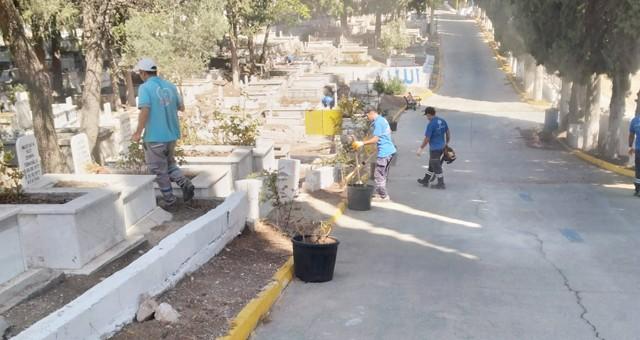 Milas Belediyesi Şehir Mezarlığı'ndabakım çalışması gerçekleştirdi
