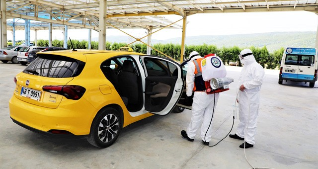 Büyükşehir 2 Bin 452 taksiyi dezenfekte etti