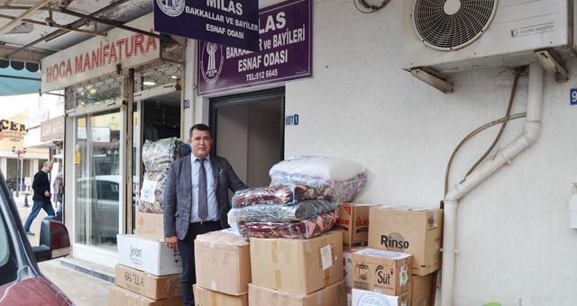 Milas Bakkallar ve Bayiler Odası da İzmir'e yardım gönderdi..