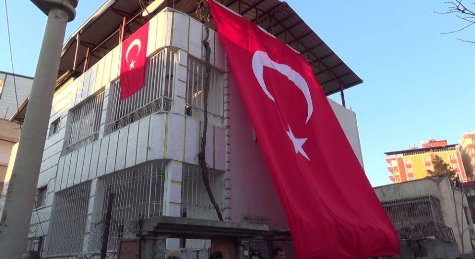 Siirtli Şehidin Evine Dev Türk Bayrağı Asıldı