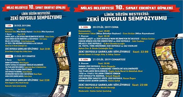 """Milas Belediyesi """"Sanat Edebiyat Günleri"""" Cuma günü başlıyor. Bu yılın konusu:  LİRİK SÖZÜN BESTECİSİ ZEKİ DUYGULU"""