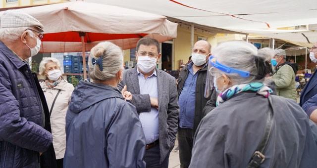 Güllük Pazarı'nı ziyaret eden Başkan Tokat  Vatandaşları pandemi konusunda uyardı..