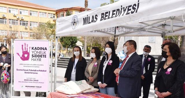 Başkan Tokat, Kadınlar Günü kapsamında kurulan standı ziyaret etti