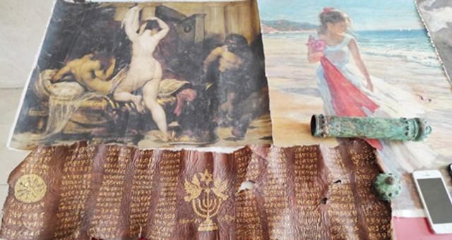 Milyonluk picasso tabloları ve ibranice deri yazma yakalandı..