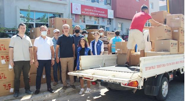 MİTSO yangın yardımlarını koordinasyon merkezine teslim etti