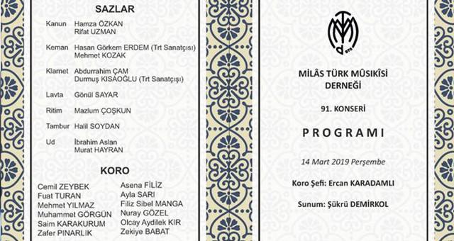 MİLAS TÜRK MUSİKİSİ DERNEĞİ'NİN  91. KONSERİ BU AKŞAM..