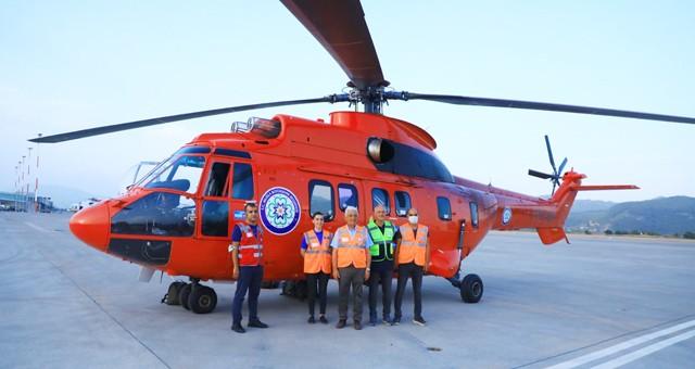 Muğla Büyükşehir Belediyesi, 4.5 ton su kapasiteli helikopteri Muğla'ya getirdi