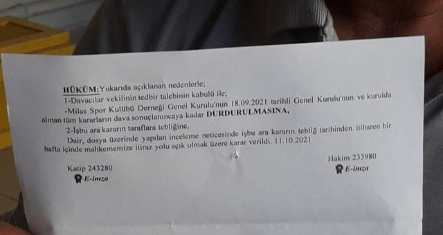Yeni Milasspor'da karar mahkemeye kaldı
